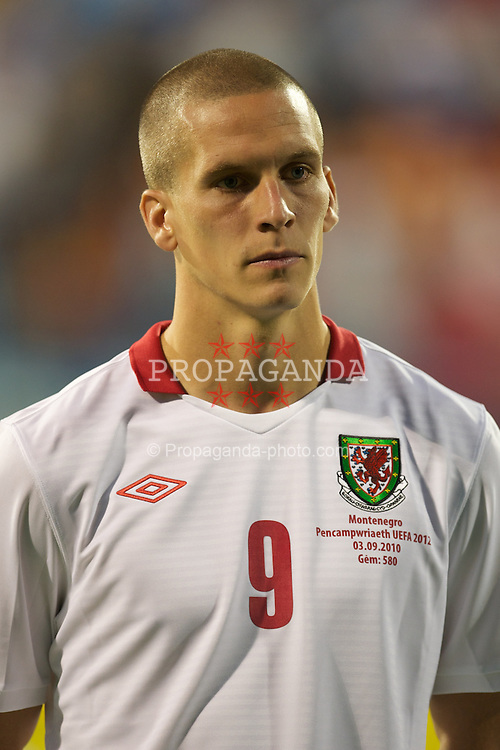 PODGORICA, MONTENEGRO - Friday, September 3, 2010: Wales' Steve Morison before the opening UEFA Euro 2012 Qualifying Group 4 match against Montenegro at the Stadion Podgorica. (Pic by David Rawcliffe/Propaganda)