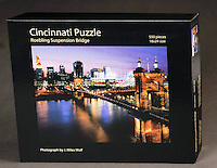 A challenging puzzle featuring a colorful night photograph of the Roebling Suspension Bridge. 550 pieces, 18x24 size. $21.95