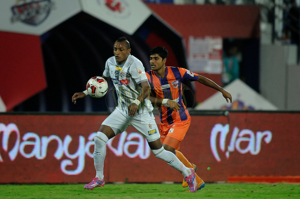 Fikru Tefera Lemessa of Atletico de Kolkata during match 44 of the Hero Indian Super League between FC Pune City and Atletico de Kolkata FC held at the Shree Shiv Chhatrapati Sports Complex Stadium, Pune, India on the 29th November 2014.<br /> <br /> Photo by:  Pal Pillai/ ISL/ SPORTZPICS
