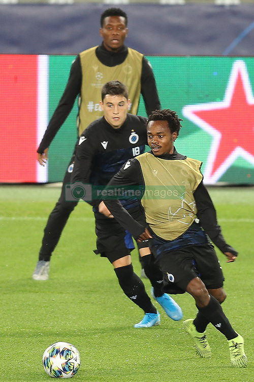 November 5, 2019, Paris, France: Club's Federico Ricca and Club's Percy Tau fight for the ball during a training session of Belgian soccer team Club Brugge KV, Tuesday 05 November 2019 in Paris, France, in preparation of tomorrow's match against French club Paris Saint-Germain Football Club in the first round of the UEFA Champions League. (Credit Image: © Bruno Fahy/Belga via ZUMA Press)