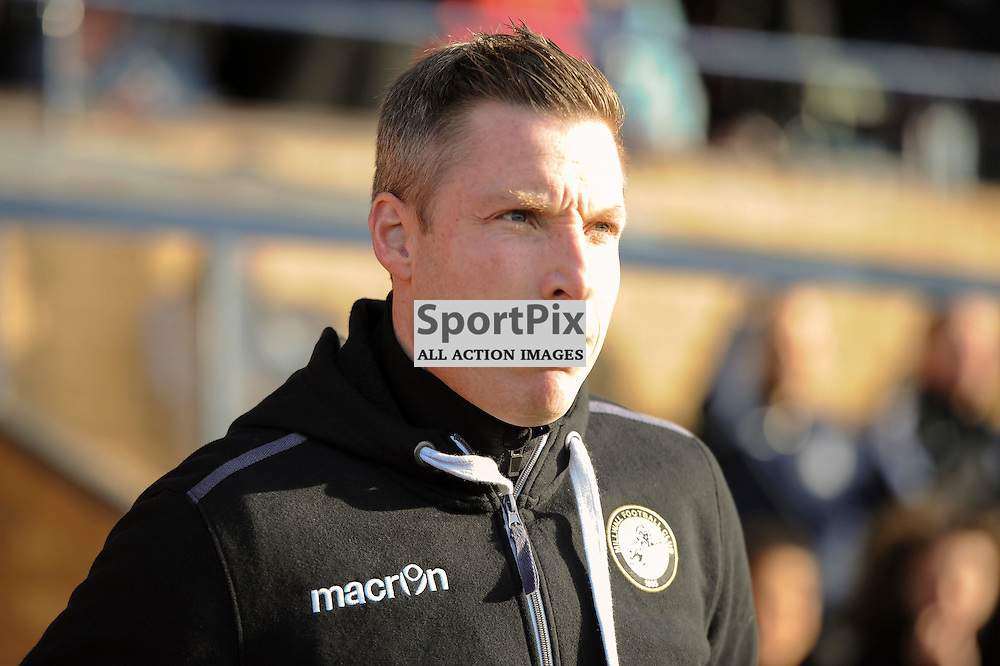 Millwall manager Neil Harris walks out onto the pitch during the Southend v Millwall game in the Sky Bet League 1 on the 28th December 2015.