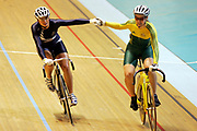 (L-R) Kerrie Meares (AUS) and Elisabeth Williams (NZL) after competing in the Women's Cycling Track Sprint during the XVIII Commonwealth Games, at the Multi Purpose Arena, Melbourne, Australia, on Saturday 18 March, 2006. Photo: Sport the Library / www.photosport.nz