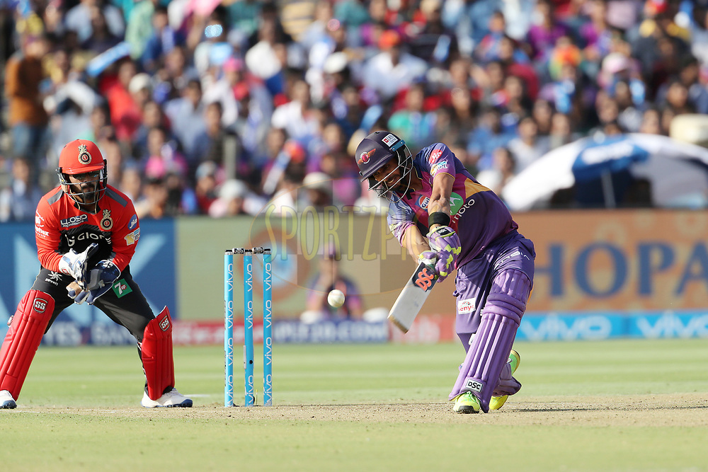 Manoj Tiwary of Rising Pune Supergiant during match 34 of the Vivo 2017 Indian Premier League between the Rising Pune Supergiants and the Royal Challengers Bangalore   held at the MCA Pune International Cricket Stadium in Pune, India on the 29th April 2017<br /> <br /> Photo by Ron Gaunt - Sportzpics - IPL