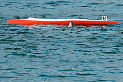 WOJCIECH TYSZYNSKI (POLAND) IN THE WATER WHILE MEN'S C1 5000 METERS FINAL A RACE DURING 2010 ICF KAYAK SPRINT WORLD CHAMPIONSHIPS ON MALTA LAKE IN POZNAN, POLAND...POLAND , POZNAN , AUGUST 21, 2010..( PHOTO BY ADAM NURKIEWICZ / MEDIASPORT ).