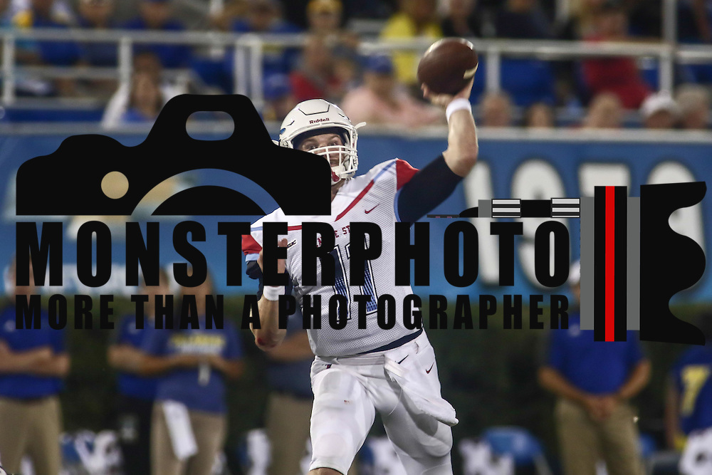 Delaware State Quarterback DANIEL EPPERSON (11) attempts to pass the ball during a week one game between the Delaware Blue Hens and the Delaware State Hornets, Thursday, Sept. 01, 2016 at Tubby Raymond Field at Delaware Stadium in Newark, DE.