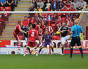 Aberdeen&rsquo;s Adam Rooney heads home his first goal - Aberdeen v Dundee at Pittodrie<br /> - Ladbrokes Premiership<br /> <br />  - &copy; David Young - www.davidyoungphoto.co.uk - email: davidyoungphoto@gmail.com
