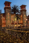Christmas lights decorate the Lightner Museum in St. Augustine, Florida. The building was originally the Alcazar Hotel.