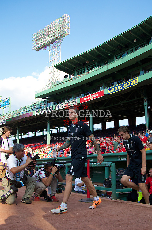 BOSTON, USA - Tuesday, July 22, 2014: Liverpool's Daniel Agger walks out for a training session at Fenway Park in Boston on two one of the club's USA Tour. (Pic by David Rawcliffe/Propaganda)