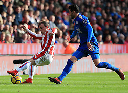 Xherdan Shaqiri of Stoke City turns Vicente Iborra of Leicester City - Mandatory by-line: Paul Roberts/JMP - 04/11/2017 - FOOTBALL - Bet365 Stadium - Stoke-on-Trent, England - Stoke City v Leicester City - Premier League