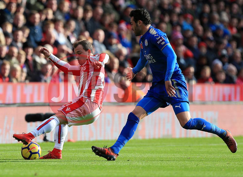 Xherdan Shaqiri of Stoke City turns Vicente Iborra of Leicester City - Mandatory by-line: Paul Roberts/JMP - 04/11/2017 - FOOTBALL - Bet365 Stadium - Stoke-on-Trent, England - Stoke City v Leicester City - Premier League