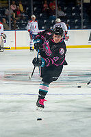 KELOWNA, BC - SEPTEMBER 21:  Jake Lee #21 of the Kelowna Rockets warms up against the Spokane Chiefs  at Prospera Place on September 21, 2019 in Kelowna, Canada. (Photo by Marissa Baecker/Shoot the Breeze)
