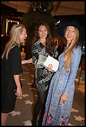 MIEKA SYWAK (L), JULIA FLIT, LISA URLA (R) at the preview of LAPADA Art and Antiques Fair. Berkeley Sq. London. 23 September 2014.