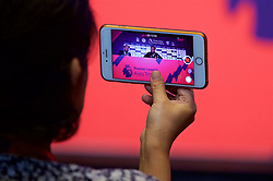 HONG KONG, CHINA - Tuesday, July 18, 2017: A reporter films Liverpool's manager Jürgen Klopp on an iPhone during a press conference at the Grand Hyatt Hotel Hong Kong ahead of the Premier League Asia Trophy 2017. (Pic by David Rawcliffe/Propaganda)