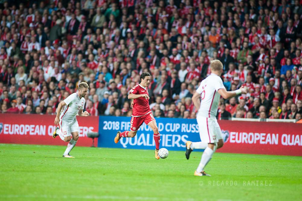 01.09.2017. Copenhagen, Denmark. <br /> Thomas Delaney (8) of Denmark during the FIFA 2018 World Cup Qualifier between Denmark and Poland at Parken Stadion.<br /> Photo: © Ricardo Ramirez.