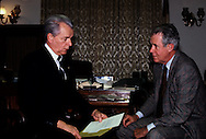 Senate Majority leader Robert Byrd and Secretary of State Cyrus Vance talk about the Panama Canal Treaty in the office of the majority leader in the US Capitol in  February 1980<br /> Photo by Dennis Brack