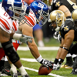 November 28, 2011; New Orleans, LA, USA; New York Giants center David Baas (64) lines up across from New Orleans Saints defensive tackle Sedrick Ellis (98) during the second quarter of a game at the Mercedes-Benz Superdome. Mandatory Credit: Derick E. Hingle-US PRESSWIRE