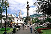 ECUADOR, COLONIAL QUITO Plaza Independencia; gardens