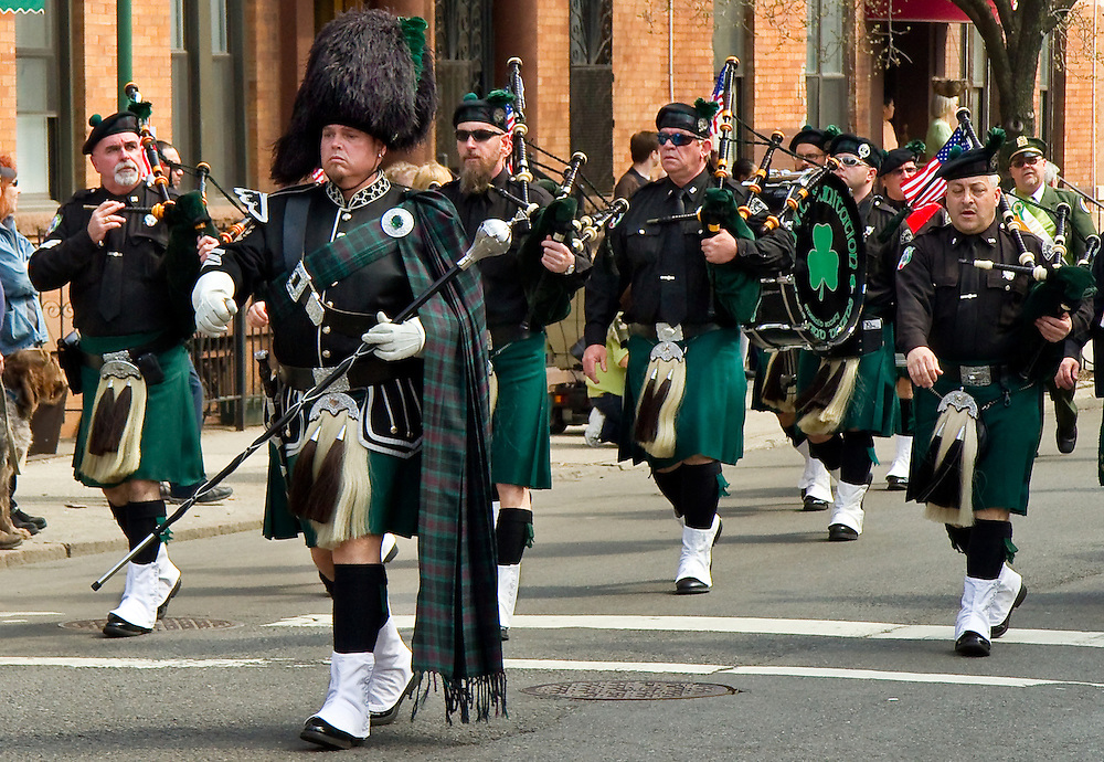 Pipers and Drummers. Local Saint Patrick's Day Parade.