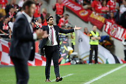 August 9, 2017 - Lisbon, Portugal - Braga's head coach Abel Ferreira  gestures during the Portuguese League football match SL Benfica vs SC Braga at Luz stadium in Lisbon on August 9, 2017 . Photo: Pedro Fiuza. (Credit Image: © Pedro Fiuza/NurPhoto via ZUMA Press)
