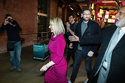 © Licensed to London News Pictures. 17/01/2020. Manchester, UK. REBECCA LONG-BAILEY (c) leaves with her husband STEPHEN BAILEY (2nd from right) , after the event . Salford & Eccles MP Rebecca Long-Bailey launches her campaign to succeed Jeremy Corbyn in the race for Labour Party leadership , at an event in the Museum of Science and Industry in Manchester City Centre . Photo credit: Joel Goodman/LNP