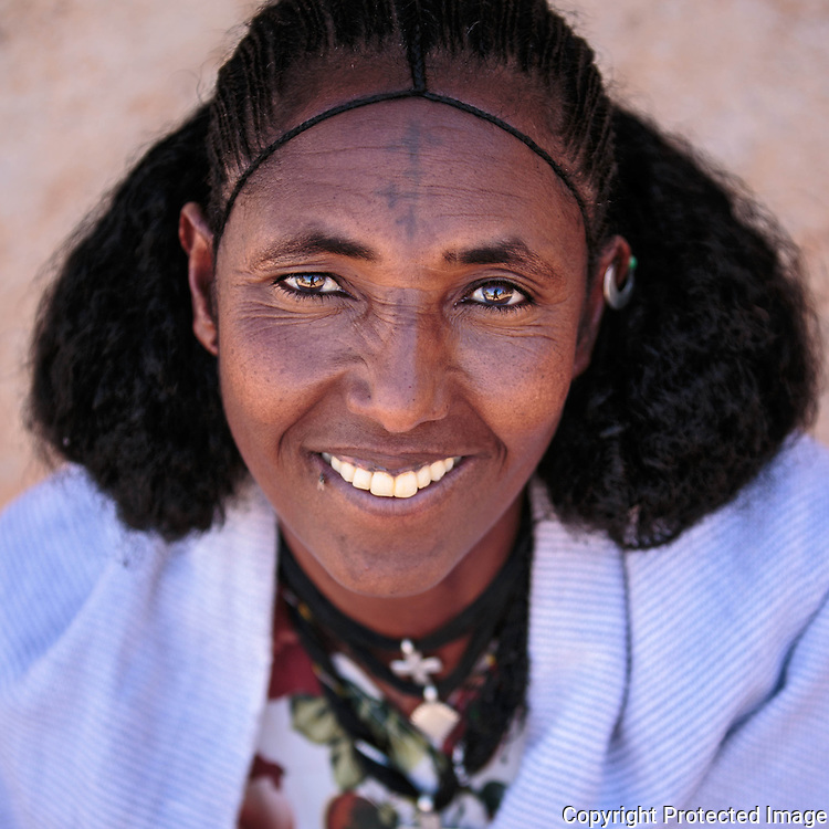 Ethiopia, Tigray Lady with the typical Tigray women haircut