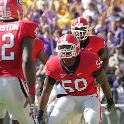 25 October 2008:  Georgia linebacker Darryl Gamble (50) celebrates with teammate Justin Houston (42) after returning an interception for a touchdown in the first quarter that gave the Bulldogs a 7-0 lead. The Georgia Bulldogs went to a 52-38 victory over the LSU Tigers at Tiger Stadium in Baton Rouge, LA.