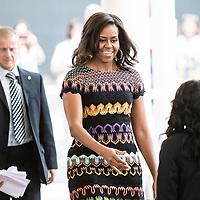 Foto Piero Cruciatti / LaPresse<br /> 18-06-2015 Milano, Italia<br /> Cronaca<br /> Michelle Obama visita Expo Milano 2015<br /> Nella Foto: Michelle Obama <br /> Photo Piero Cruciatti / LaPresse<br /> 18-06-2015 Milan, Italy<br /> News<br /> Michelle Obama visits Expo Milano 2015<br /> In the Photo: Michelle Obama