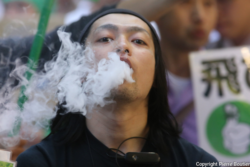 May 6,2018 , Tokyo , hundred of participants march for legalizing cannabis and marijuana in Japan .protestors ask for decriminalize marijuana for récréative and therapeutic use, since  cannabis control law held by U.S administration occupation government in 1948, users could face up to seven years jail sentences on recent survey  from neurological center 1, 3  million of Japanese use marijuana. Pierre Boutier