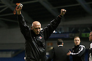 Eastbourne Borough assistant manager celebrates at the whistle of the Sussex Senior Cup Final match between Eastbourne Borough and Worthing FC at the American Express Community Stadium, Brighton and Hove, England on 20 May 2016.