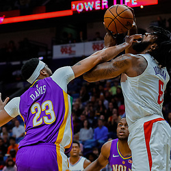 Jan 28, 2018; New Orleans, LA, USA; New Orleans Pelicans forward Anthony Davis (23) knocks the ball from \LA Clippers center DeAndre Jordan (6) during the first quarter at the Smoothie King Center. Mandatory Credit: Derick E. Hingle-USA TODAY Sports