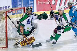 Matija Pintaric (HDD Tilia Olimpija, #69) and Domen Vedlin (HDD Tilia Olimpija, #7) during ice-hockey match between HDD Tilia Olimpija and EHC Liwest Black Wings Linz in 19th Round of EBEL league, on November 7, 2010 at Hala Tivoli, Ljubljana, Slovenia. (Photo By Matic Klansek Velej / Sportida.com)