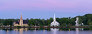 Sunrise view of the famous Lunenburg Churches. From Left to right: St. James Anglican Church, St. John's Lutheran Church & United Church Mahone Bay. Mahone Bay, Nova Scotia, Canada.