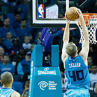 01 November 2015: Charlotte Hornets forward Cody Zeller (40) goes for the dunk during the Atlanta Hawks 94-92 victory over the Charlotte Hornets, at the Time Warner Cable Arena, in Charlotte, North Carolina, USA.