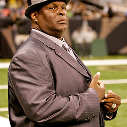 August 21, 2010; New Orleans, LA, USA; NFL Hall of Fame linebacker Rickey Jackson watches from the sideline during warm ups prior to kickoff of a 38-20 win by the New Orleans Saints over the Houston Texans during a preseason game at the Louisiana Superdome. Mandatory Credit: Derick E. Hingle