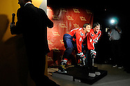 Russia's Alex Ovechkin, star forward for the Washington Capitals of the NHL, unveils his wax likeness in hockey gear at Madame Tussauds wax museum in Washington.