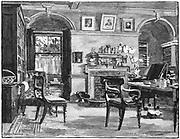 Charles Darwin's (1809-1882) study at Down House, Beckenham, Kent. English naturalist. Evolution by Natural Selection. Engraving, 1882.