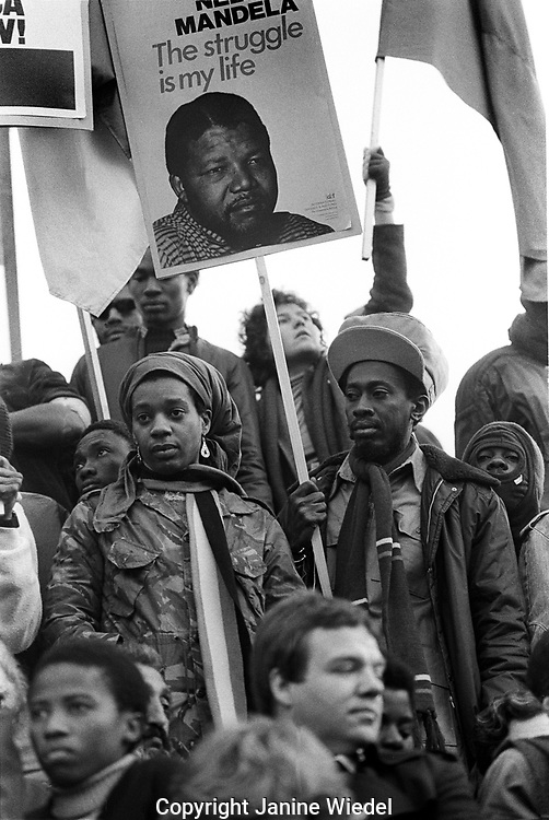 Largest Anti Apartheid and free Nelson Mandela Rally in Trafalgar Square Nov 1st 1985, at least 35,000 people took part