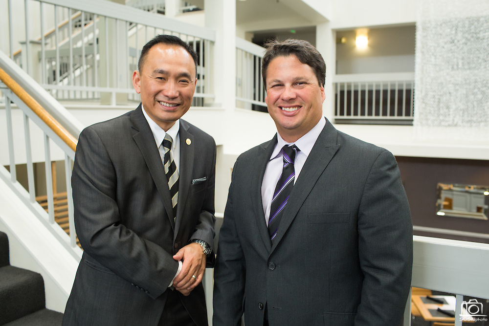 Peter Kuo, left, and Jason Scalese pose for a portrait during the Silicon Valley NAIFA 58th Annual Sales Congress at The Domain Hotel in Sunnyvale, California, on March 28, 2014. (Stan Olszewski/SOSKIphoto)
