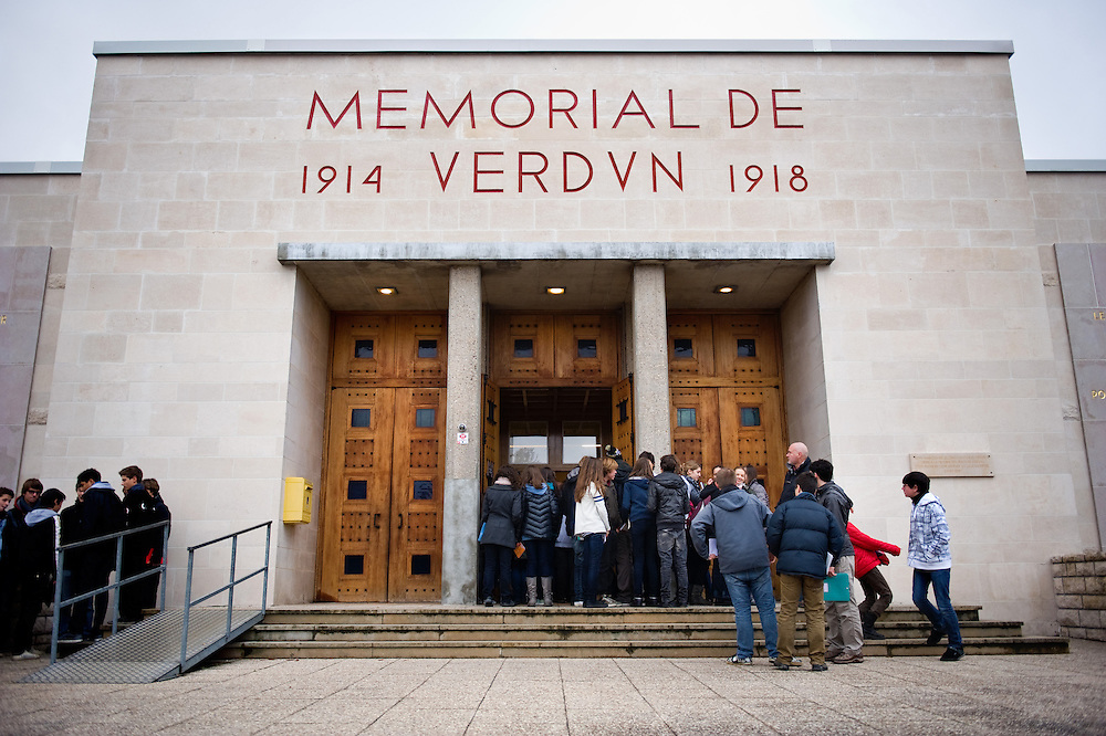 A school visiting the ‪Verdun Memorial‬. The memorial built in 1967 to commemorate the battle of Verdun fought in 1916. The memorial is situated near the the destroyed village of Fleury-devant-Douaumont and remembers both French and German combatants.