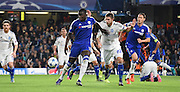 Kurt Zouma holds off Artem Kravets during the Champions League group stage match between Chelsea and Dynamo Kiev at Stamford Bridge, London, England on 4 November 2015. Photo by Michael Hulf.