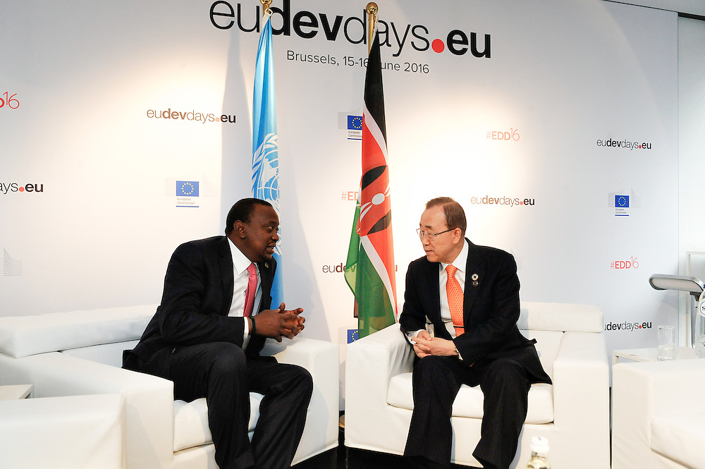 20160615 - Brussels , Belgium - 2016 June 15th - European Development Days - Bilateral Meeting Ban Ki-Moon<br /> Secretary General, United Nations<br /> Uhuru Kenyatta and <br /> President and Commander-in-chief of the Defence Forces, Republic of Kenya<br /> &copy; European Union
