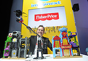 Super heroes and villains face off in the Imaginext DC Super Friends Super Hero Flight City at the New York Toy Fair, Friday, Feb. 12, 2016.  The playset features two worlds in one, Gotham City and Metropolis. (Photo by Diane Bondareff/AP Images for Mattel)