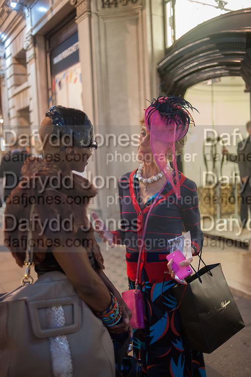 LALAH CREATIVE; LADY HENRIETTA ROUS, Vogue's Fashion night out special opening of the Halcyon Gallery.  New Bond St. London. 6 December 2012.