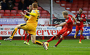 Lee Barnard of Crawley Town shoots which leads to the first goal of the game during the Sky Bet League 2 match between Crawley Town and Cambridge United at the Checkatrade.com Stadium, Crawley, England on 9 January 2016. Photo by Andy Walter.