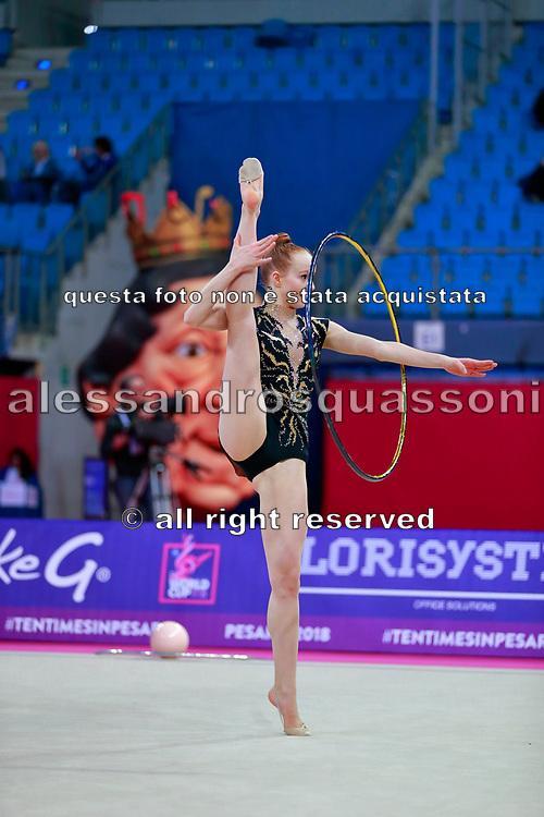 Garbarino Monica from San Marino Republic during qualification of hoop at World Cup Pesaro 2018.