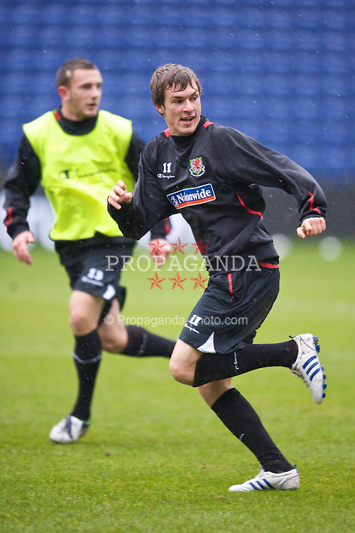 COPENHAGEN, DENMARK - Tuesday, November 18, 2009: Wales' Aaron Ramsey during a training session at the Brøndby Stadion ahead of the International friendly match against Denmark. (Pic by David Rawcliffe/Propaganda)