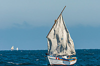 sailboat with torn sails in the peruvian coast at Piura Peru
