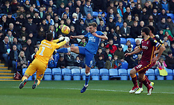 Matt Godden of Peterborough United challenges for the ball with Richard O'Donnell of Bradford City - Mandatory by-line: Joe Dent/JMP - 17/11/2018 - FOOTBALL - ABAX Stadium - Peterborough, England - Peterborough United v Bradford City - Sky Bet League One