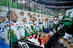 Jure Penko and Luka Simsic during ice-hockey friendly match between legends of HDD Tilia Olimpija and HK Acroni Jesenice, on April 14, 2012 at SRC Stozice, Ljubljana, Slovenia. (Photo By Matic Klansek Velej / Sportida.com)