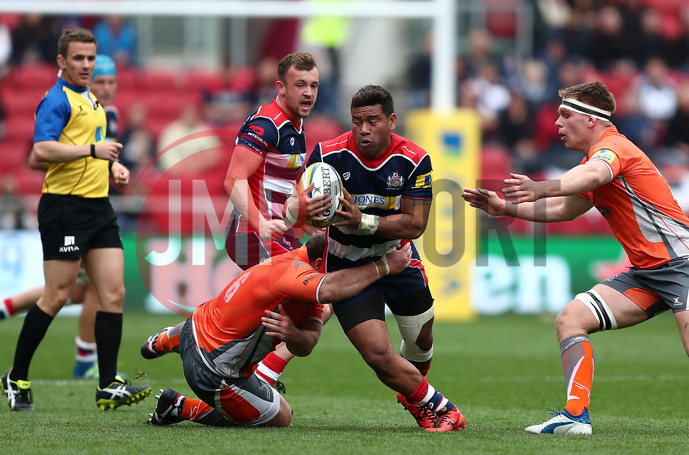 Siale Piutau of Bristol Rugby is tackled by Mark Wilson of Newcastle Falcons  - Mandatory by-line: Gary Day/JMP - 06/05/2017 - RUGBY - Ashton Gate - Bristol, England - Bristol Rugby v Newcastle Falcons - Aviva Premiership